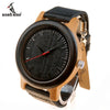 LENNON Leather Band Fashion Wood Quartz Watch for Gents - Byrne Berlin
