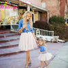 Denim Long Sleeve Top and White Ruffle Skirts Mommy and Me Outfit