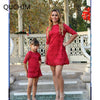 Red Summer Lace Look for Mommy and Me - Byrne Berlin