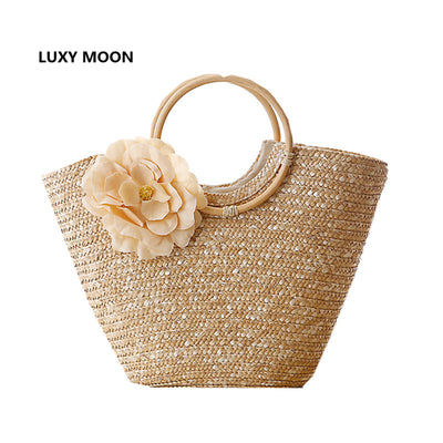 Le Blossom - Women's Summer Floral Straw and Round Wooden Handled Beach Tote