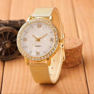 BELLA CRYSTALE Classy Crystal Roman Numerals Gold Mesh Band Women's Watch - Byrne Berlin
