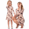 Elk Print Mommy and Me Peach Colored Dresses