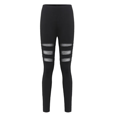 RONAN  Black Mesh Inset Fashion Women's Leggings to 5XL - Byrne Berlin