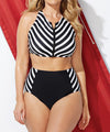 ODESSIA High Waist Stripe and Zipper Detail Plus Size Women's Swimwear 4XL - Byrne Berlin