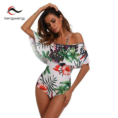 TENERIFE' Tropical Floral Print Ruffled Off the Shoulder Women's Swimsuit to 2XL - Byrne Berlin