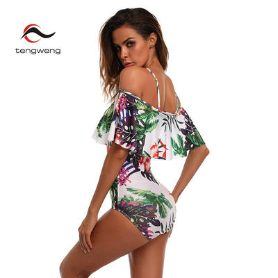 LA SAL Floral Print Ruffled Off Shoulder Plus Size Women's Swimwear to XXL - Byrne Berlin