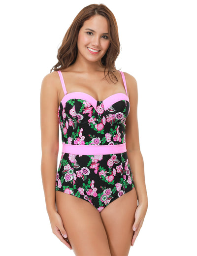BOELYN Belted Floral Print One Piece Plus Size Women's Swimwear to 4XL - Byrne Berlin