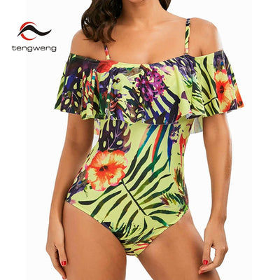 FIRE FLOWER Tropical Ruffled Off The Shoulder Women's Swimsuit to 3XL - Byrne Berlin