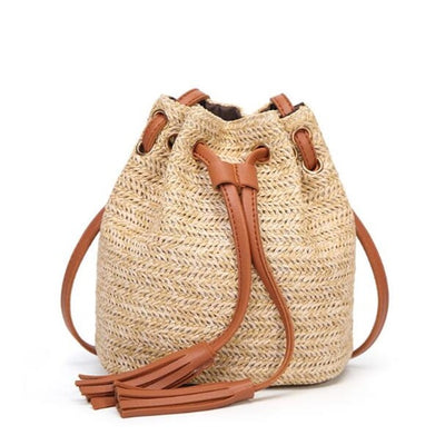 women small beach bohemian round straw crossbody bucket hobo bags for lady summer panier plage shoulder rattan messenger bags - Byrne Berlin
