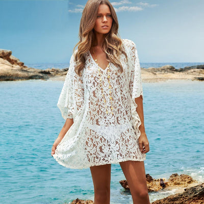 SIMONE Lace Crochet V-Neck Women's Swimwear Cover Up - Byrne Berlin