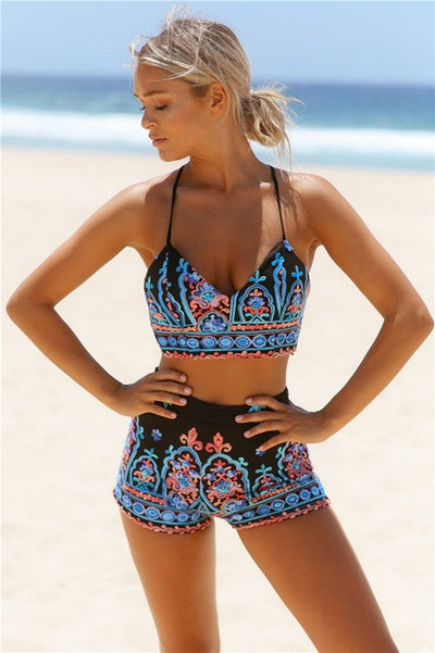 DANNICA Vintage Print High Waist Two Piece Women's Swimsuit - Byrne Berlin
