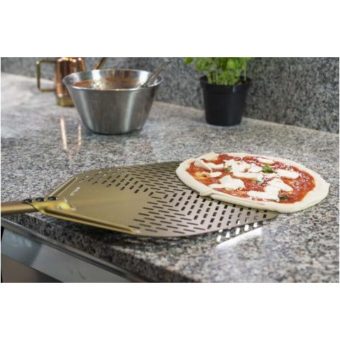 Aluminum perforated rectangular Gold pizza peel
