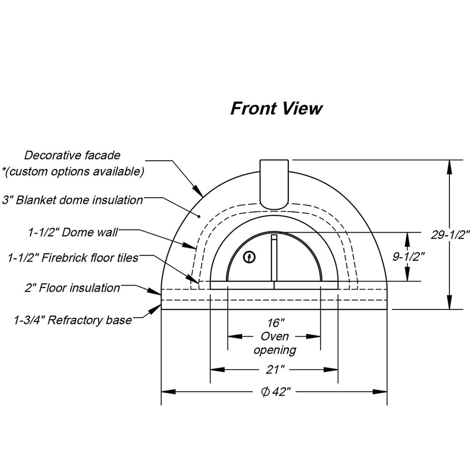 Forno Bravo - Primavera 70 Outdoor Wood-Fired Pizza Oven Technical Drawing with Sizes and Specifications - Firewalker Ovens