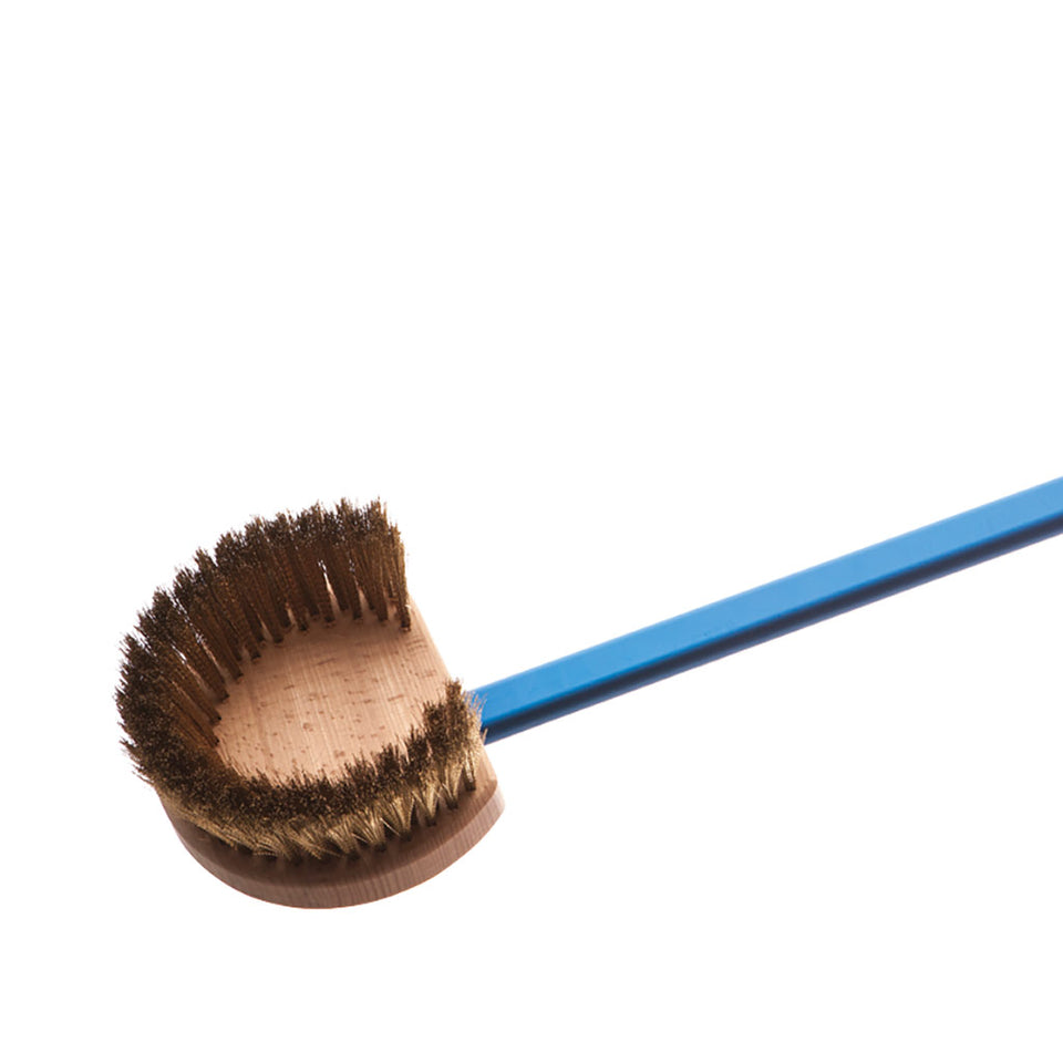 Round Head Pizza Oven Brush with Brass Bristles - Azzurra Line