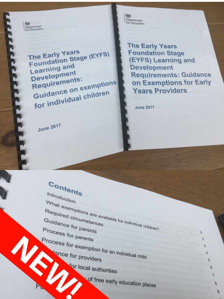 NEW! EYFS Development Requirments - Exemptions