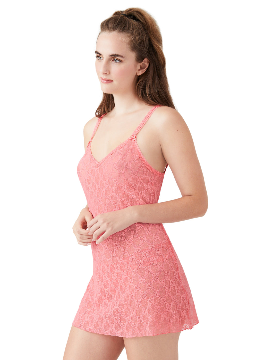Lace Kiss Chemise in Tea Rose