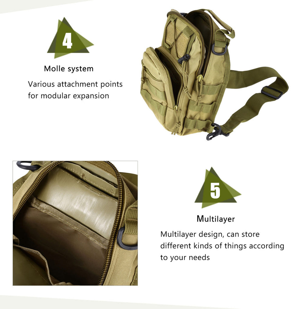 Best Tactical Sling Shoulder Military Backpack Great for Camping Travel Hiking Trekking