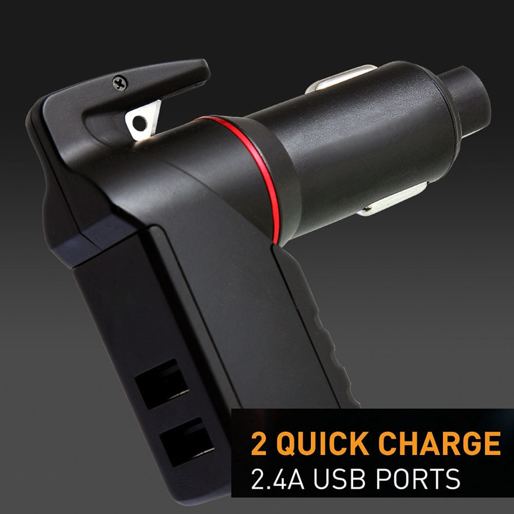 Quick Charger 3 in 1 USB Car Charger Seat Belt Cutter Emergency Hammer Spring Loaded Glass Breaker Razor FOR Sharp - MyLittleStuff