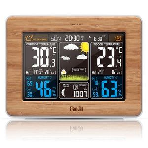 Digital Clock Weather Station With Color LCD Screen displays time, temperature, humidity and forecast with voice control