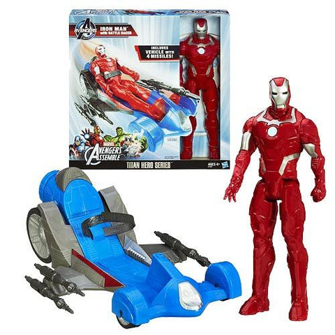 Avengers Assemble Iron Man Figure with Battle Racer Vehicle