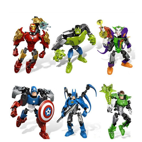 Avengers Hero Captain American Hulk Iron Man Batman Clown Puzzle Action Figure Toy Building Blocks Christmas Gift for Kids
