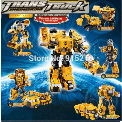 5-in-1combination transformation Toys metal part Engineering vehicle model Devastator figure toy Optimus Prime Robot Car