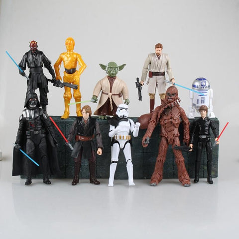 Star Wars Darth Maul Darth Vader Master Yoda Doll Luke Skywalker Stormtrooper Action Figure Model Toy 10pcs/set 14cm