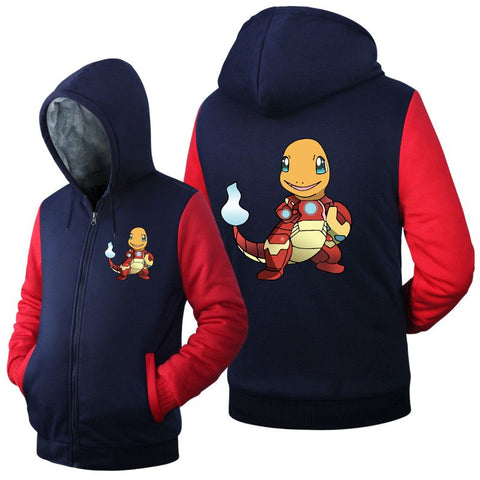 Anime Men Women Pokemon go Gengar Pocket Monsters Jacket Sweatshirts Thicken Hoodie Zipper Coat