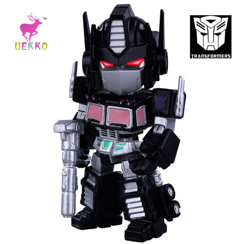 UEKKO anime figure toy  Transformation black Q version Optimus  light-emitting action Model For Collection / Gift Original Box