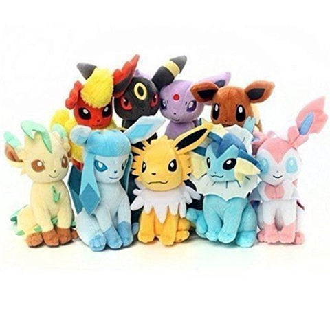 [PCMOS] 2016 New Pokemon Evolution of Eevee Jolteon Espeon Flareon 9pcs Plush Toy Stuffed Doll Arcade Prizes 3344