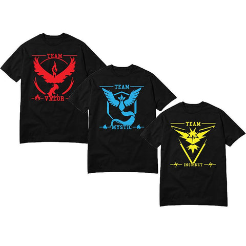 Men T-Shirts Fashion Pokemon Go T-shirt Black Team Valor Mystic Instinct Pokeball Man Camisetas Cotton Top Tees Pika Anime Homme