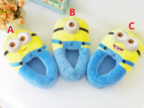 "Despicable Me Minion Plush Slippers Minions Soft Shoes Stuffed Plush Indoor Shoes 11""28cm 3 Styles For Teenager & Adult"