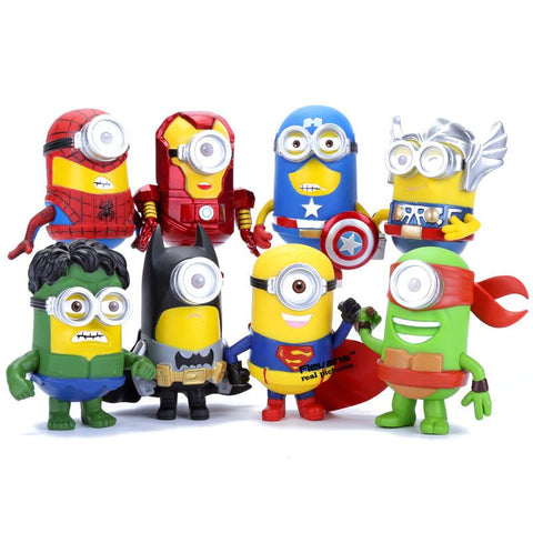3D Eye Minion Cos Avengers Superheroes Iron man Spriderman Hulk Thor PVC Action Figures Kids Toys 8pcs/set DSFG258