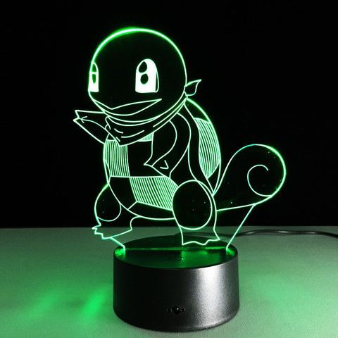 Pokemon Figures Lamp NEW Pokemon Squirtle Action &Toy Figure Gift 3D LED Table Lamp Made of PMMA Have 7 Color Changing Figures