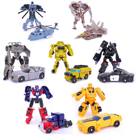 Transformation 7pcs/lot Kids Classic Robot Cars Toys For Children Action & Toy Figures