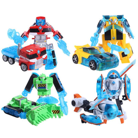 4pcs/set Rescue Bots Deformation Robot Bumblebee/Optimus/Bulldozer/Helicopter Robots Transformation toy
