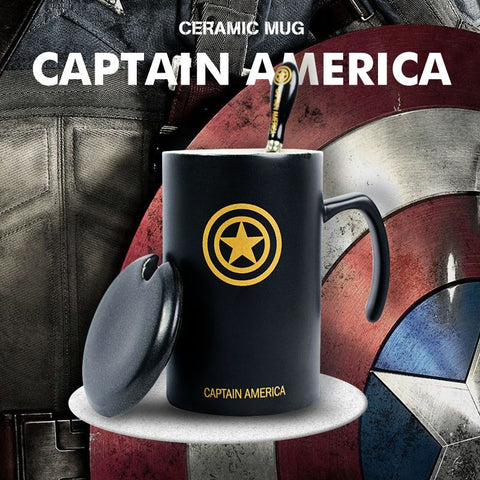 The Avengers Black Cup Coffee Cup Mug With Lid And Spoon,Captain America,Iron Man, Transformers,SuperMan Ceramic Coffee Mug