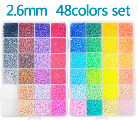 New Perler Beads 2.6mm 48 colors 24,000 pcs with Storage Box DIY gift hama beads craft wholesale learning & toy kids toys
