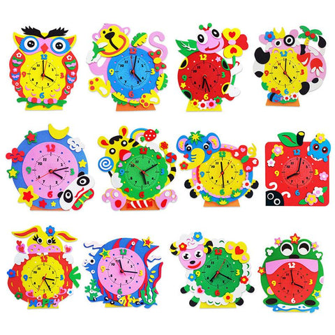 DIY Cartoon Animal Learning Clock Puzzle Kids Arts & Crafts Kits Educational Toy