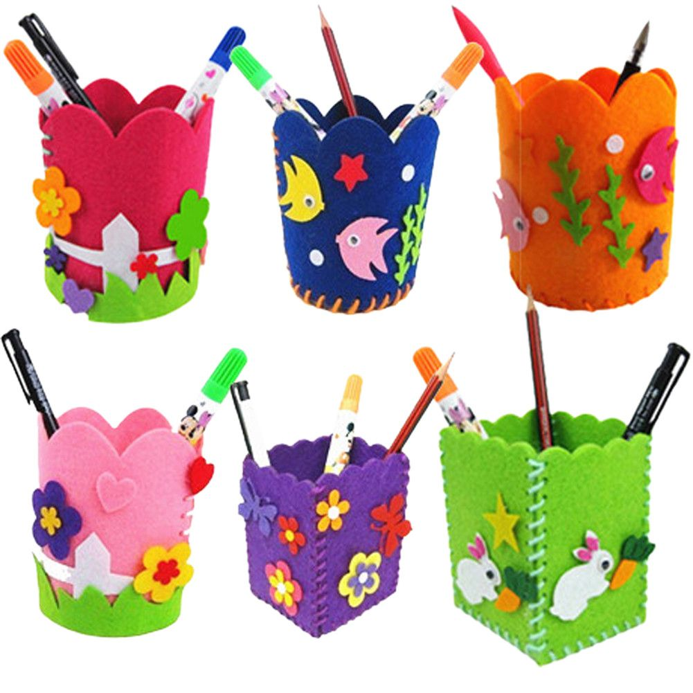 Cute Creative Handmade Pen Container DIY Pencil Holder Kids Craft Toy Early Educational Handcraft Kit Toy for Kids Children - Shazam Toys