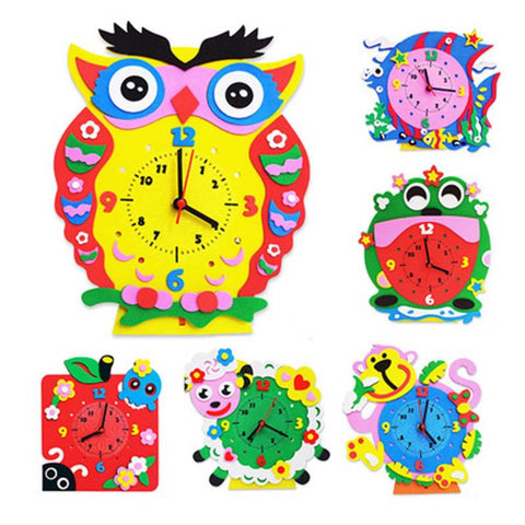 DIY Art Crafts Materials EVA 3D Kids Educational Toys For Younger Children Handmade Cartoon Animal Clocks Early Education DY08