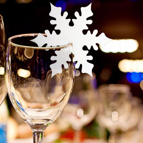 50 Pcs Snow Leaf Shape Paper Crafts Snowflake Place Cards for Glass Wine Beer Christmas Winter Wedding Table Festival Decoration