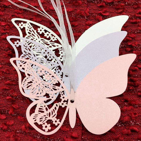 50Pcs Romantic Butterfly Hollow Shape Craft Paper Hang Tag Wedding Party Label Price Gift Cards Glass Tags Decoration Bookmark