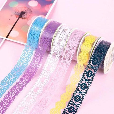 2 x 15mm Wide Decorative Craft Paper Washi Tape Book Decor DIY Making Sticker Lace Decoration Masking Tape