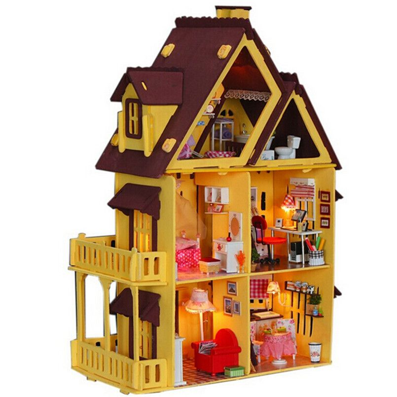 Diy Doll House with Furniture Handmade Model Building Kits 3D Villa Miniature Wooden Dollhouse Toy Gifts for Children/Adults - Shazam Toys