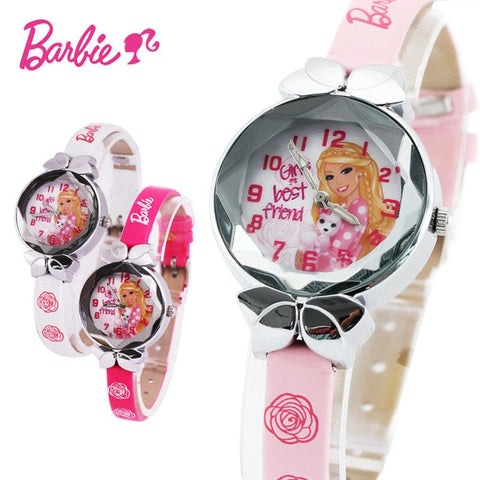Disney Barbie princess pink doll Watch Children Kids Girls Boys Students Quartz Wristwatches