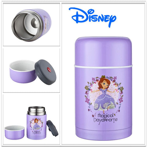Disney Sofia Dory 750ml Stainless Steel Vacuum Insulated Lunch Box for Children White and Purple Kids Hot Cold  Food Thermos