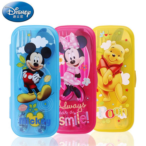 Disney Stainless Steel Spoon Fork Kit Dinnerware Sets With Cartoon Cases baby spoons for Outdoor Camping Picnic Mickey  Mouse