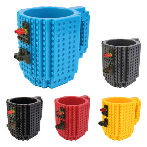 2016 Creative DIY Build-on Brick Mug Lego Style Puzzle Cup Building Blocks Water Bottle Frozen Coffee Cup Christmas toy Mug gift
