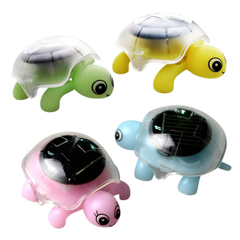 Mini Solar Powered Energy Cute Turtle Tortoise Gadget Gift Educational Toy for Kids Novelty Gift for Children Color Random